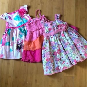 lot of 3 baby girl pink party dresses 18M